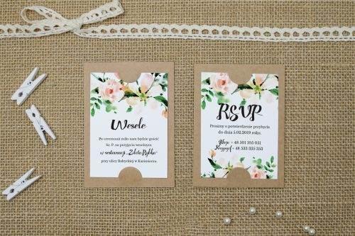biała magnolia na karteczce dodatkowej do zaproszenia ślubnego