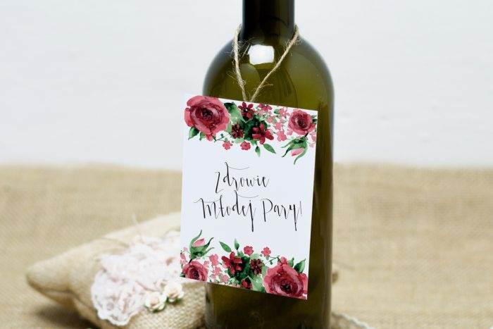 burgundowe róże zawieszka na alkohol weselny