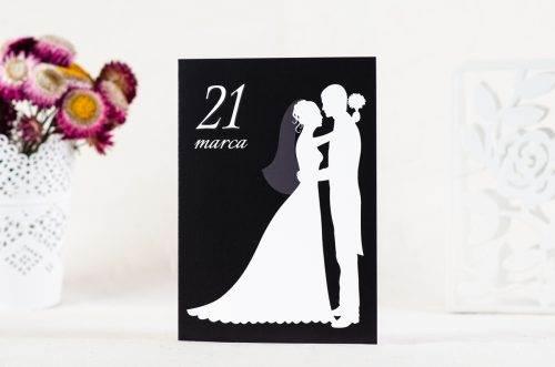 zaproszenie ślubne czarno-białe 2 wzór 1