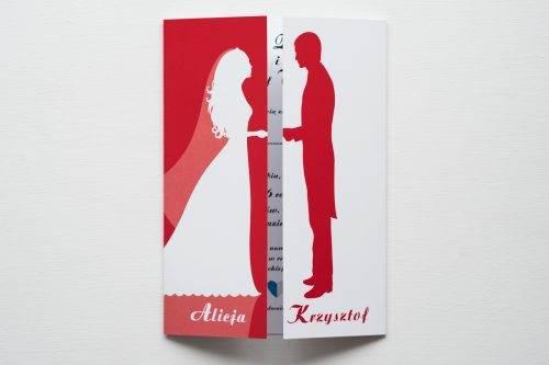 zaproszenie ślubne kolorowe para młoda czerwone