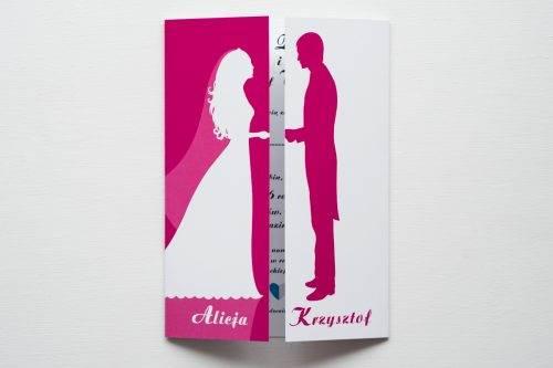 zaproszenie ślubne kolorowe para młoda różowe