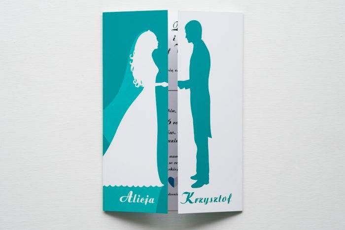 zaproszenie ślubne kolorowe para młoda niebieskie