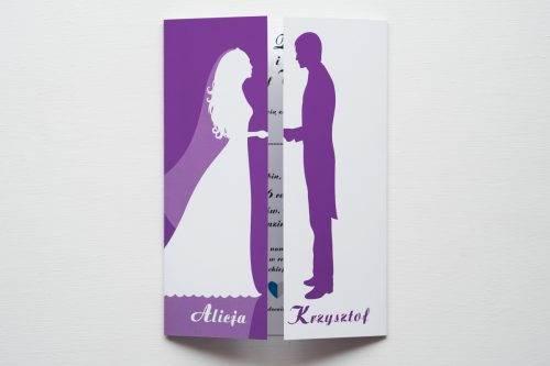 zaproszenie ślubne kolorowe para młoda fioletowe