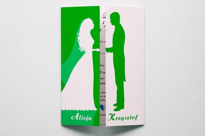 zaproszenie ślubne kolorowe zielone para młoda