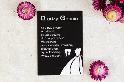 dodatkowa karteczka do zaproszenia black white