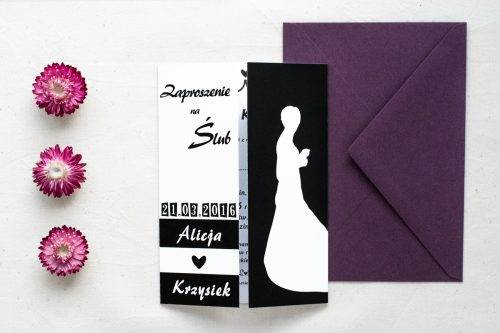 zaproszenie ślubne czarno białe