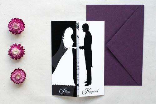 tanie zaproszenie ślubne black white wzór 1