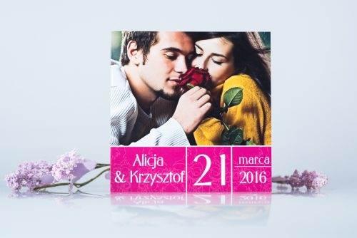Zaproszenie ślubne ze zdjęciem różowe