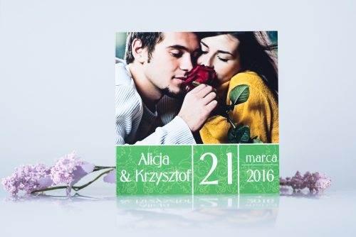 zaproszenie ślubne ze zdjęciem zielone