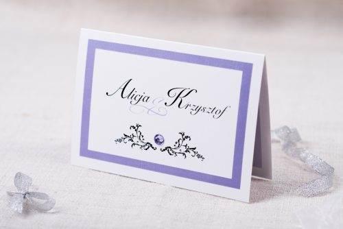zaproszenie fioletowe z brylancikiem eleganckie