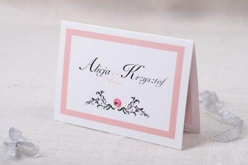 zaproszenie eleganckie różowe z brylancikiem