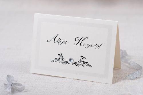 zaproszenie ślubne szare z brylancikiem eleganckie