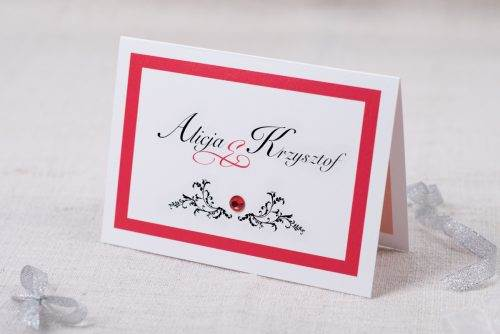 zaproszenie czerwone eleganckie z brylancikiem