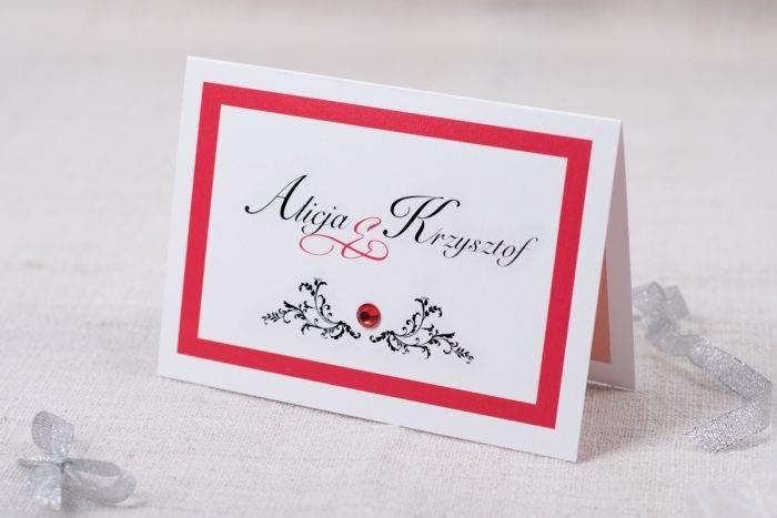 zaproszenie-slubne-eleganckie-z-brylancikiem-czerwone-brylanciki-srebrny-papier-satynowany