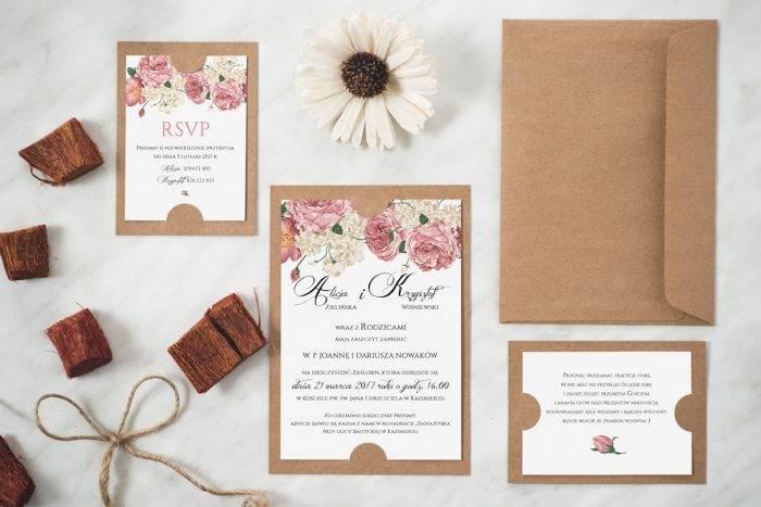 Tanie Zaproszenie ślubne w stylu boho wzór 3 eco podkładka