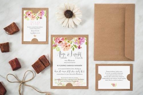 Zaproszenie ślubne w stylu boho wzór 5 podkładka eco
