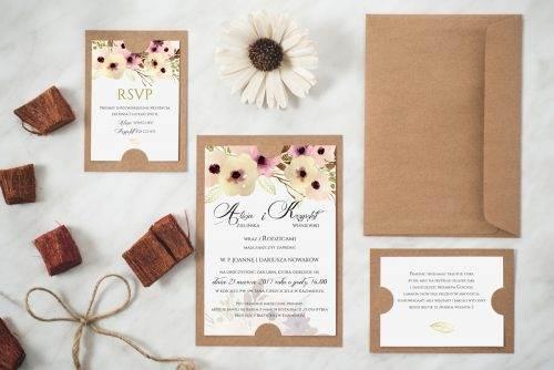 Zaproszenie ślubne w stylu boho wzór 6 podkładka eco