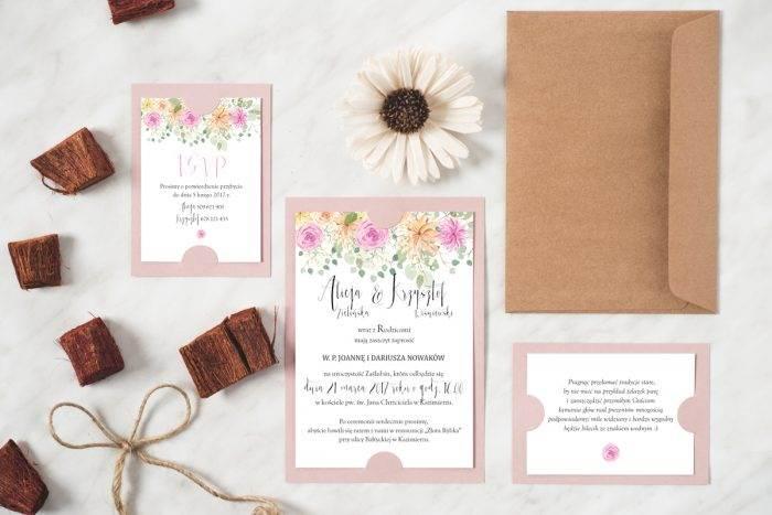Zaproszenie ślubne w stylu boho wzór 2 różowa podkładka