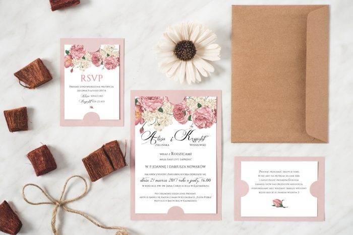 Zaproszenie ślubne w stylu boho wzór 3 podkładka różowa