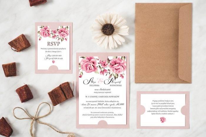 Zaproszenie ślubne w stylu boho wzór 4 podkładka różowa