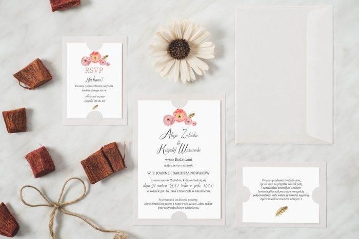 zaproszenie ślubne boho biała podkładka kwiaty