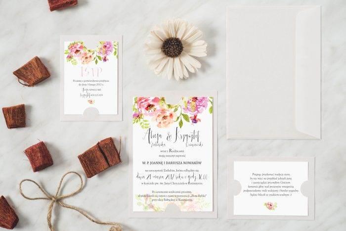 Zaproszenie ślubne w stylu boho wzór 5 podkładka biała