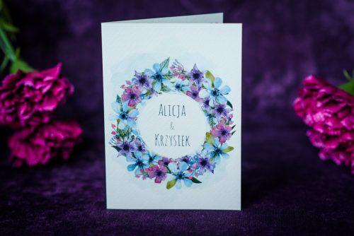 zaproszenie ślubne kwiecisty wianek fioletowo niebieski