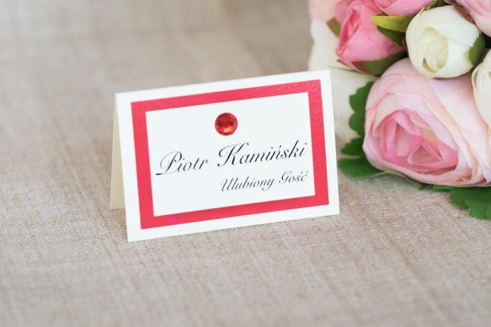 winietka-slubna-do-zaproszenia-eleganckie-z-brylancikiem-czerwone-brylanciki-srebrny-papier-satynowany