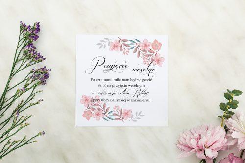 Dodatkowa karteczka Wianuszki - Pudrowe kwiaty wkładka wzór A