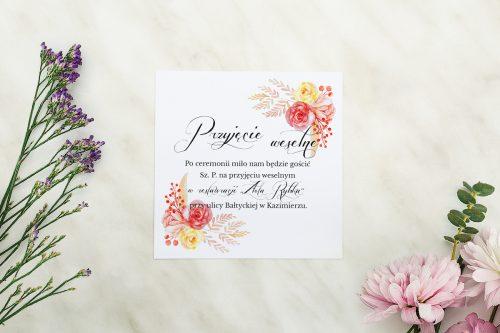 Dodatkowa karteczka Wianuszki - Akwarelowe róże wzór A