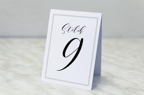 numer stolika biały