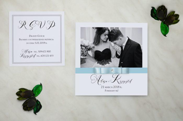 FotoZaproszenia z brylancikiem - zaproszenie i wkładka błękitne
