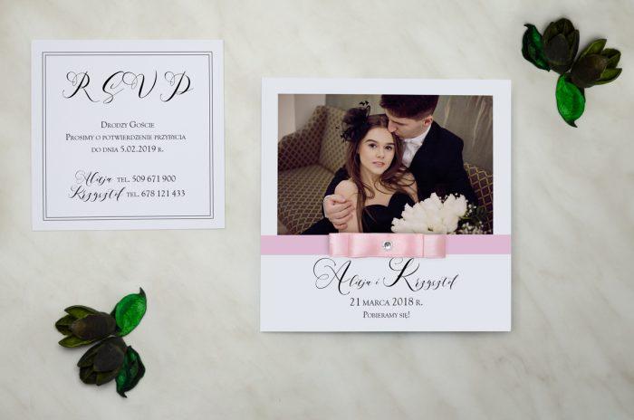 FotoZaproszenia z brylancikiem - zaproszenie i wkładka różowe