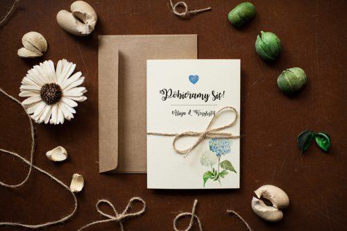 zaproszenie ślubne hortensje