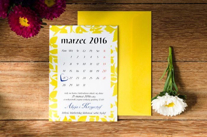 zaproszenie ślubne kalendarz żółty