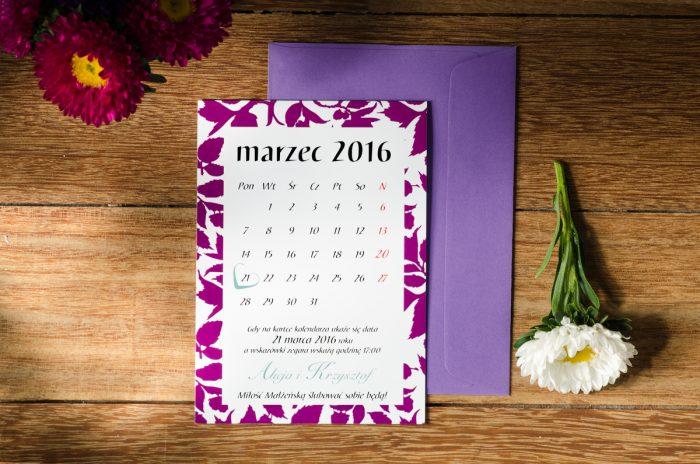 zaproszenie ślubne w formie kartki z kalendarza