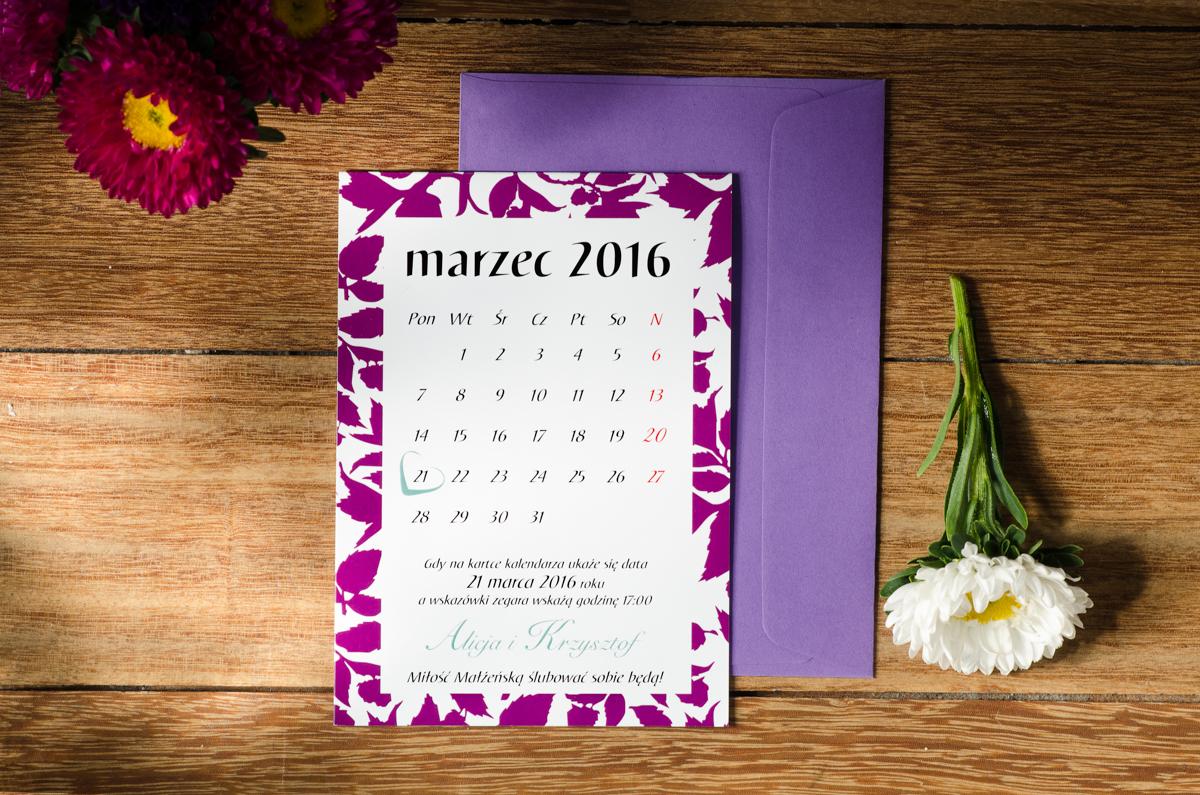 Z Miłości Zaproszenie ślubne Jesienne Liście W Kalendarzu Wzór 2