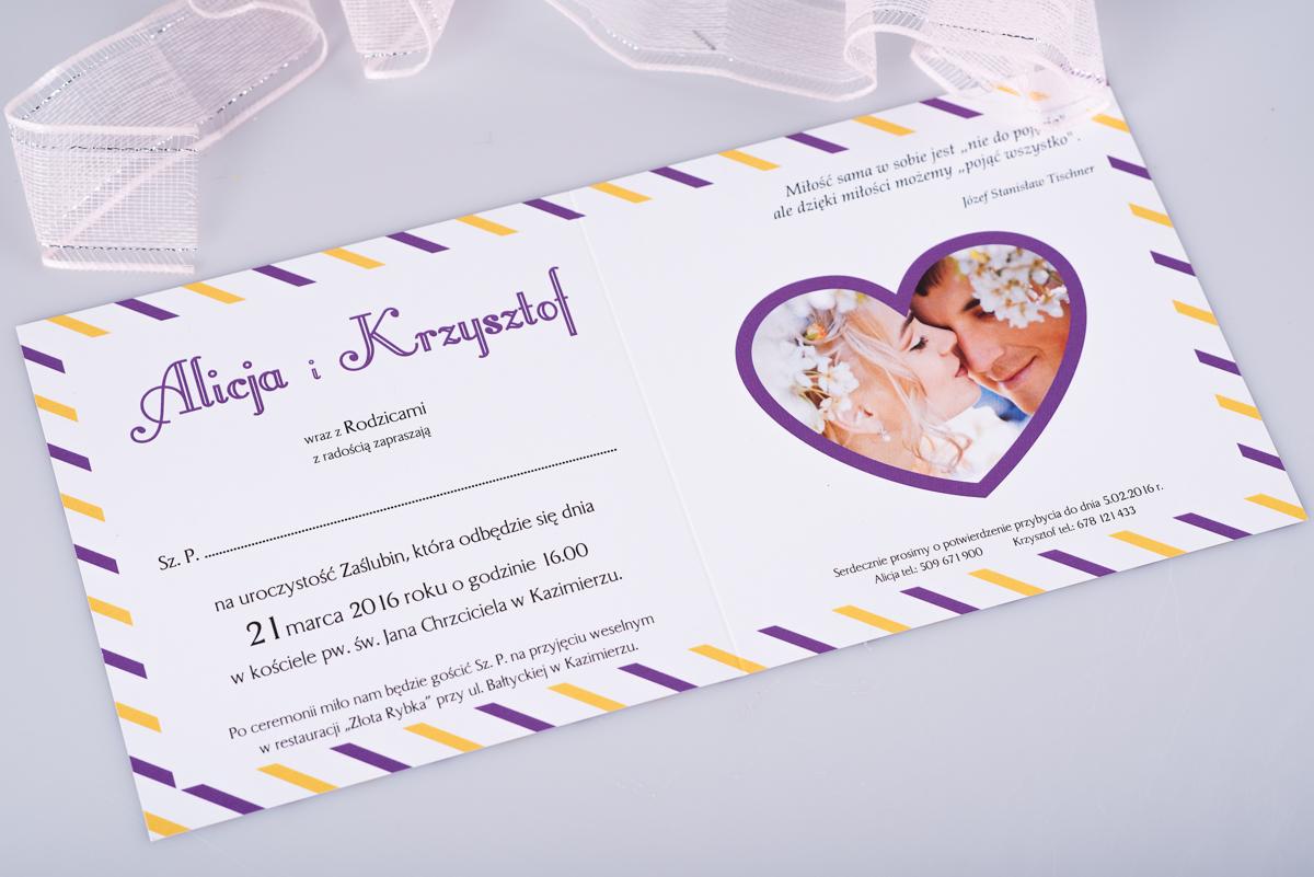 Modne ubrania Z-Miłości - Zaproszenie ślubne Kartka pocztowa wzór 3 LH18