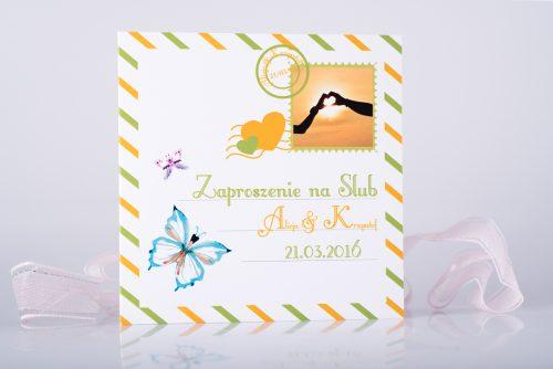 zaproszenie ślubne kartka pocztowa pomaranczowo zielona