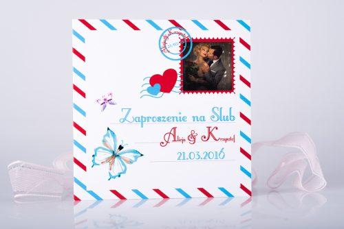 zaproszenie ślubna karta pocztowa