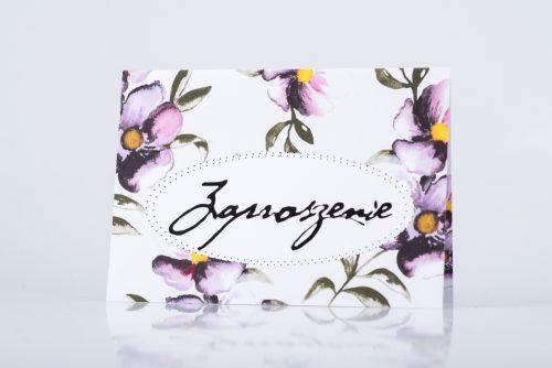 zaproszenie ślubne fioletowe kwiaty