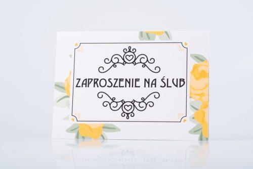zaproszenie ślubne złote róże