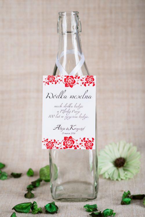 zawieszka na alkohol weselny czerwona