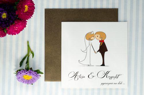 zaproszenie ślubne lolki całujące się