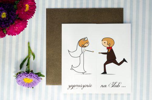 zaproszenie ślubne lolki biegnące