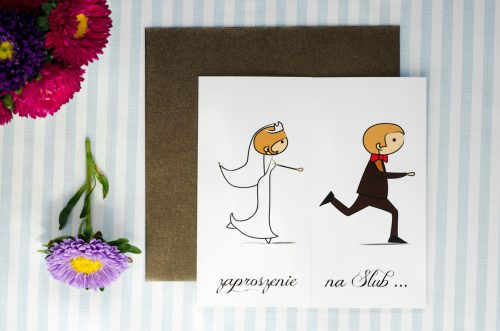 zaproszenie ślubne lolki uciekajacy pan
