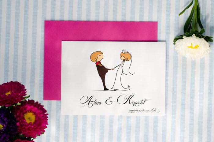 zaproszenie ślubne lolki trzymające się za ręce