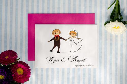 zaproszenie ślubne lolki trzymajace sie za rece