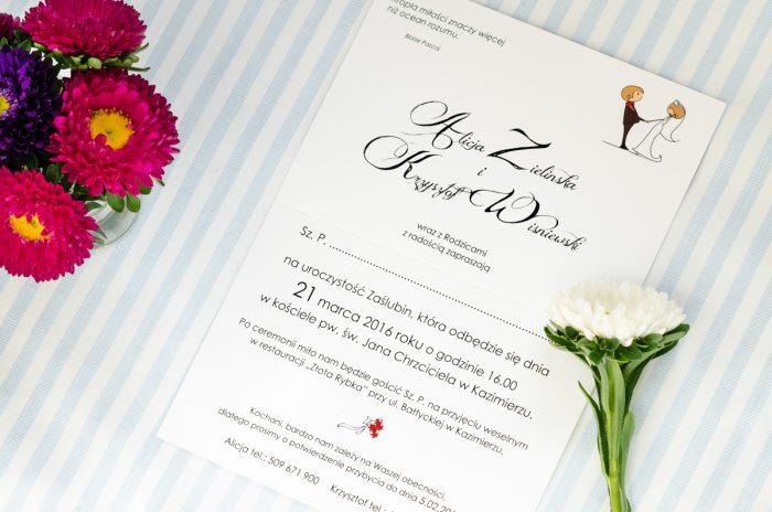 środek zaproszenia ślubnego lolki