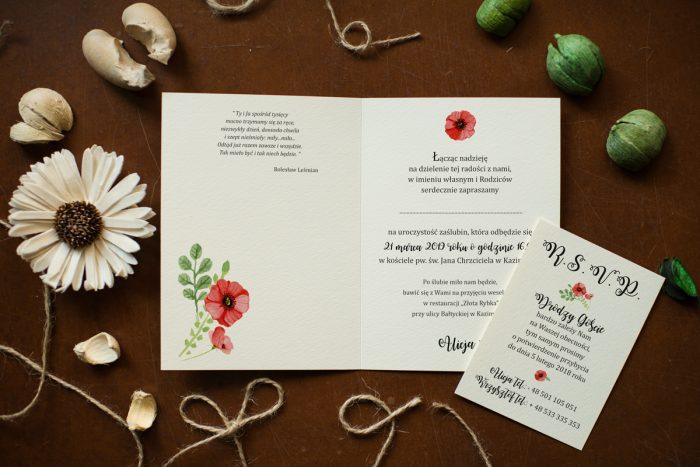 zaproszenie ślubne z makami